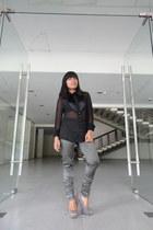 black sheer thrifted vintage top