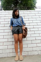 blue denim Forever 21 top - light brown oxfords Mendrez woman shoes