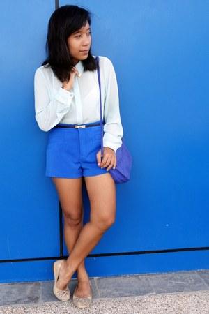 blue Mango bag - blue July shorts - light blue Forever 21 top - gold CMG flats