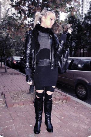 black BCBG leggings - black TRF Zara jacket - gray BNG sweater - black Carolina