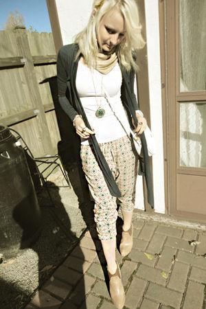 beige Jeffrey Campbell shoes - blue Zara cardigan - beige scarf - white Gucci pu