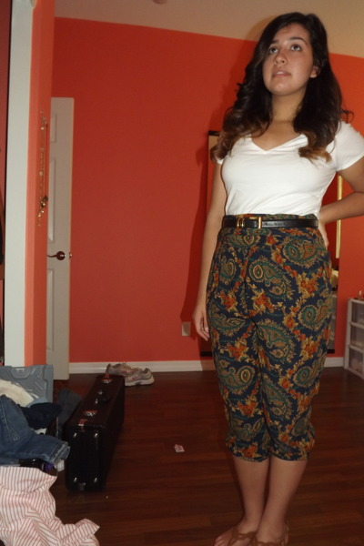 white shirt - paisley-esque thrifted pants