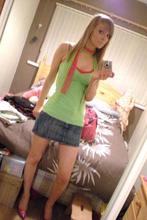 green shirt - pink shirt - blue skirt - pink shoes - green scarf - pink scarf