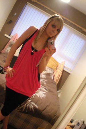 pink dress - black shirt - black leggings - pink bracelet