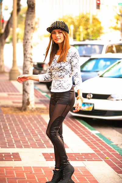black black boots - black mash leggings - white lace and bow blouse