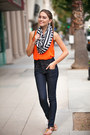 Sky-blue-denim-asos-jeans-black-nordstrom-scarf-carrot-orange-cicihot-top