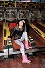 Black-netted-mesh-cicihot-sweater-hot-pink-marshalls-boots