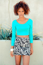 Black-love-boots-black-h-m-shorts-turquoise-blue-cicihot-top