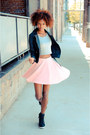 Black-cicihot-jacket-pink-zara-skirt-white-romwe-top