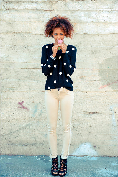 black polka dots cicihot sweater - ivory papaya pants