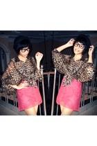 black bowler hat - hot pink lace skirt - dark brown chiffon blouse