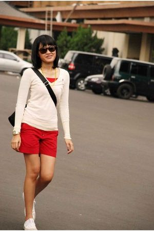 yellow sweater - red top - red pants - yellow accessories - white shoes - black