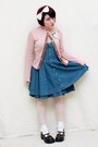 Dark-brown-mudd-shoes-navy-pink-dress-bubble-gum-daisytrip-cardigan
