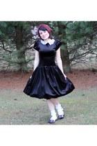 white Minky Shop flats - black vintage dress