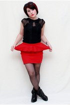 black Lilly shirt - red Candies skirt