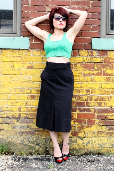 green Body Central top - black vintage skirt - black Mossimo heels