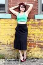 green Body Central top - black vintage skirt - black Mossimo heels