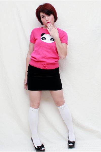 hot pink Crazy 8 top - black Gap skirt - black olsenboye heels