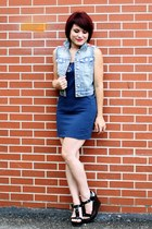navy LEI vest - black Mossimo wedges