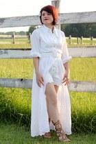 white vintage dress - bronze Anne Michelle heels