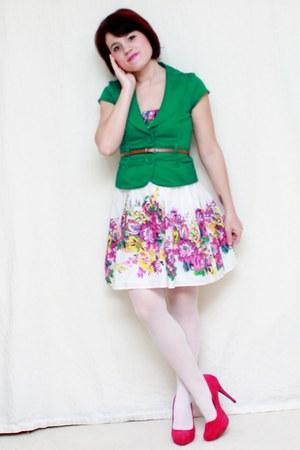 white Akira dress - green Forever 21 blazer - hot pink Pulse heels