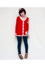 Navy-abercrombie-fitch-leggings-red-forever-21-cardigan
