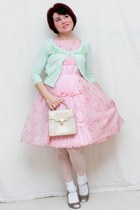 light pink vintage dress - lime green Candies cardigan - eggshell Mossimo heels