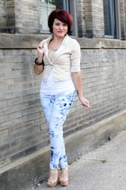 beige Charlotte Russe blazer - blue American Eagle jeans - white Forever 21 top