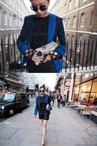 black leather Monki shorts - blue color block sass & bide jacket