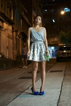 silver metallic Bauhaus skirt - heather gray tank top American Apparel shirt