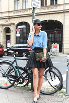 black cap Urban Outfitters hat - blue chambray Initial shirt