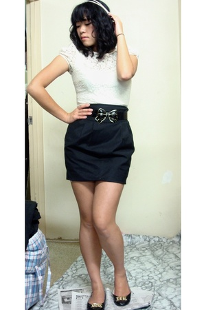 black high waisted ForeverNew skirt - black Payless shoes - supre dress