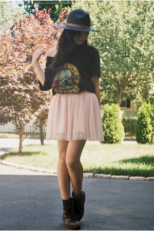 pink tutu Forever21 skirt - moms old boots vintage boots