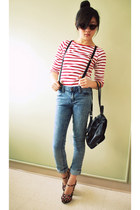 blue acid wash jeans Forever21 jeans - red striped shirt Zara shirt - black thri