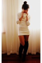 black alloy boots - ivory Motel dress - ivory infinity scarf Forever21 scarf