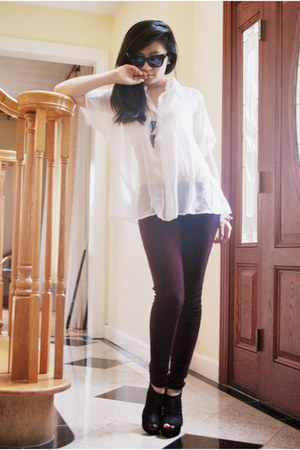 crimson velvet Forever21 leggings - white sheer Forever21 shirt - black Alexande