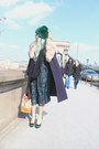 Navy-vintage-coat-green-fur-chicwarm-vintage-hat-tan-prada-bag