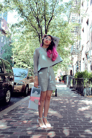 heather gray moota sweater - heather gray H&M shorts - white Zara heels
