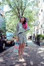 Heather-gray-moota-sweater-heather-gray-h-m-shorts-white-zara-heels