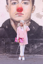 white leather skully Jeffrey Campbell heels - light pink Front Row Shop coat