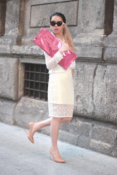 light yellow H&M skirt - white see through unbranded shirt