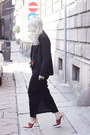 Black-acne-dress-black-next-blazer-red-bvlgari-purse