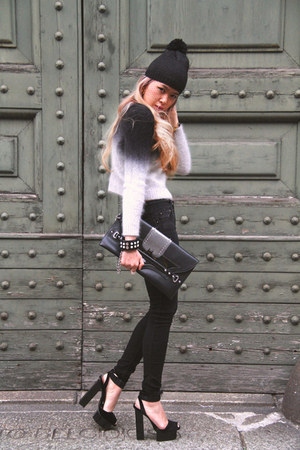 black H&amp;M sweater - black DIY hat - black braccialini bag