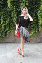 red Michael Kors bag - black supergurl shorts - red Charlotte Olympia pumps
