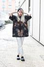 Black-leather-sporty-ktz-top-silver-silver-denim-love-moschino-pants