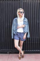sky blue Gap jacket - blue Zara shorts - white Gap t-shirt