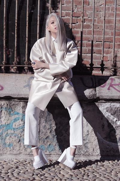 white Cindy Karmoko coat - white Zara shirt - white Cindy Karmoko pants