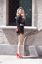 red bvlgari bag - black Zara shirt - black supergurl shorts