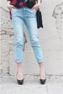 Black-diy-hat-light-blue-zara-jeans-black-vintage-shirt-navy-vintage-bag