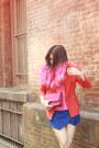 Red-vintage-blazer-hot-pink-berrybenka-bag-blue-origami-skort-zara-shorts